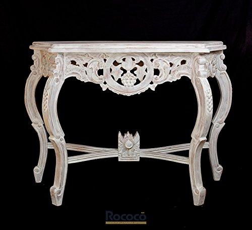 Rococo Consola Artesanal de Madera Anggur. Blanco decapado