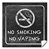 Set of 8 No Smoking No Vaping Sign - Self Adhesive Vinyl Sticker - Stop Smoke or Vaping - No Cigarette Logo - Large 6 X 6' Inch Rustic Black No Smoking Sticker for Business