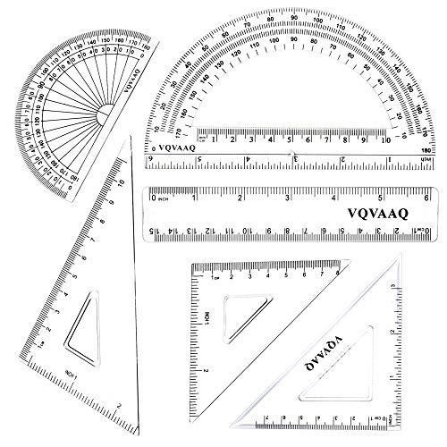 6 Piece Geometry School Set, Linear Ruler, Set Squares, Protractor