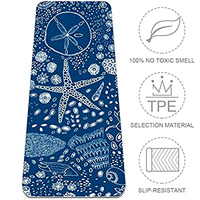 Nautical Ocean Yoga Mat Non-Slip 8MM Thick Yoga Mat TPE Friendly Eco Exercise Mat Pad for Home Gym Fitness Workout Pilates, 72'' x 32''