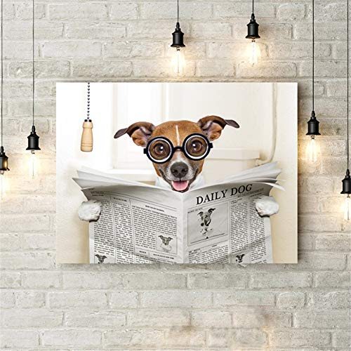 Rjjwai Divertido Perro Lienzo Arte Póster Impresiones Loco Tonto Perro Sentado En...