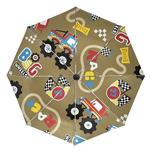 Racing Track Kompakter Reiseschirm, Outdoor Regen Sonne Auto Faltbar Wendbare Regenschirme für Winddicht, Verstärktes Baldachin, UV-Schutz, Ergonomischer Griff, Automatisches Öffnen/Schließen