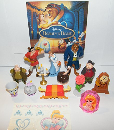 Disney Beauty and The Beast Movie Deluxe Figure Set of 14 Toy Kit with Figures, Tattoo Sheet, ToyRing Featuring Belle, Lumiere, Mrs.Potts, Gaston and Many More!