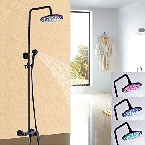 Jkckha Set de ducha Tres LED en color de 10 pulgadas aceitado Bronce Estilo Moda baño grifo de la ducha grifo mezclador con ducha ajustable Bar