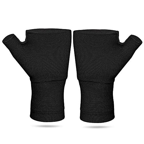 圧縮手袋 手首のサポート 手のひらを保護する と 手首 (ブラック, L)