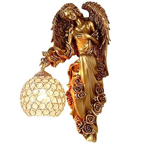 FEE-ZC Lámparas de Pared de Cristal E27 Vine Creativity Resina Angel Goddess Modelado Aplique de Pared Accesorios de Luces Pantalla de Cristal de Hierro Forjado Retro par
