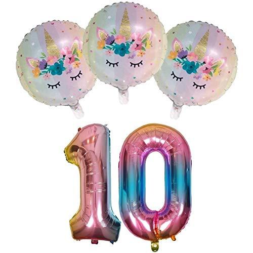 DIWULI, Juego de Globos, número 10, Globos unicornio, globos de número arco-iris, globos de papel de aluminio años inflatable, globos grande para el 10° cumpleaños niña niños, decoración, fiesta
