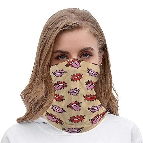 Yilooom Seamless Face Mask Bandanas, Unisex Face Scarf for Outdoor Dust Wind Sun Protection, Lips Retro Pop Art Style