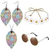 4 Pezzi Costume Hippie Set Includono Occhiali da Sole, Fascia, Collana a Forma di Fogli Vuoti e Orecchino Goccia
