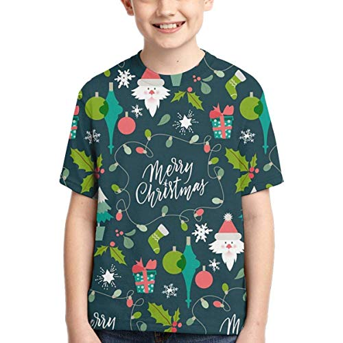 XCNGG Niños Tops Camisetas Youth Short Sleeve T-Shirts Fondo-Patron-Divertido-Navidad_1003-238 Kids Casual Graphics Tees