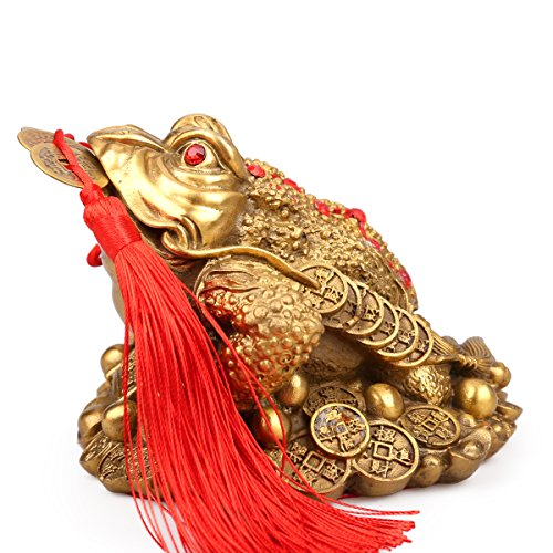 Traditional chinese Brass Feng Shui Money Frog (Three Legged Wealth Frog or Money Toad) Statue + Set of 5 Lucky Charm Ancient Coins on Red String,Feng Shui Decor