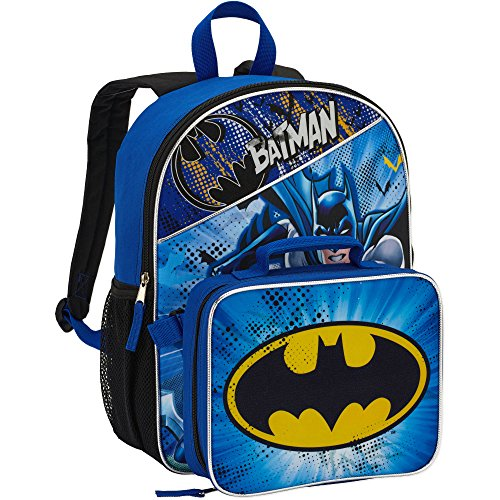 DC Comics Batman Backpack with Lunchbox Set for Boys Kids ~ Deluxe 16' Batman Backpack and Insulated Batman Lunch Box (Batman School Supplies)