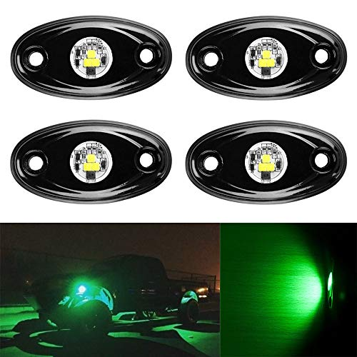 YaeCCC 4pcs LED Rock Light Under Body Glow Trail Rig Lamp Waterproof (Green) Compatible for JEEP ATV SUV Truck Boat