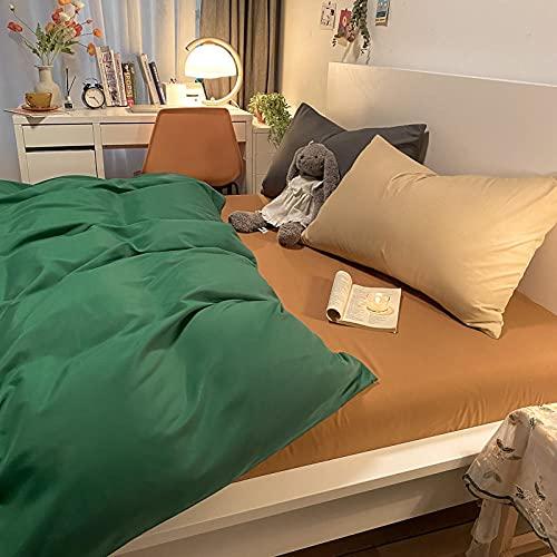 Traje de Cuatro Piezas de Contraste de Color Puro con Funda de Almohada Cama de Viento Simple Duvet Funda Dormitorio Estudiante-Emeralda + té de Leche_220 * 240m