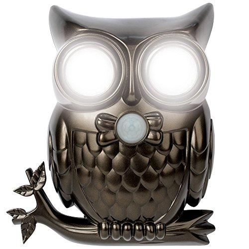 "IdeaWorks JB7682 Decorative LED Motion Sensor Hooting Owl Light, 6.93"" X 2.12"" X 8.06"", Gray"
