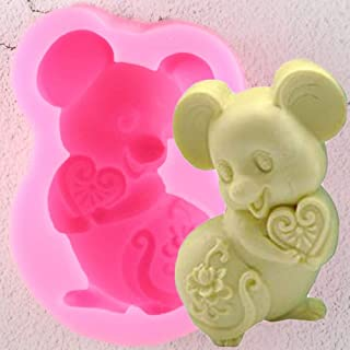 Cute 3D Mouse Mice Shaped Silicone Mold for DIY Handmade Ice Cream Jelly Shots Candy Ice Cube Cupcake Cake Topper Decoration Fondant Mold Pudding Desserts Chocolate Soap Mould Gum Paste