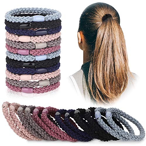 12 Pieces Cotton Hair Ties Braided Hair Bands Elastic Hair Ties Ropes Braided Ponytail Holders Hair Accessories for Women Girls Thick Heavy and Curly Hair, 6 Colors