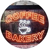 Coffee Bakery Shop Illuminated Dual Color LED看板 ネオンプレート サイン 標識 白色 + オレンジ色 400 x 300mm st6s43-i0497-wo