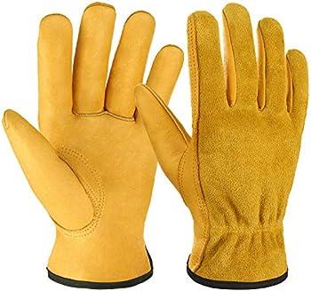 Ozero Leather Flex Grip Tough Cowhide Gardening Work Gloves