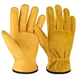 ►100% Genuine leather, Durable and Protective - These work gloves are made of carefully selected high-quality grain cowhide and split cow leather with thickness depth of 1.0mm-1.2mm, which is not only thick but also soft and flexible with moderate oi...