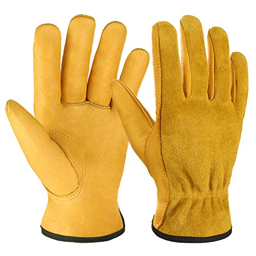 OZERO Leather Work Gloves Flex Grip Tough Cowhide...