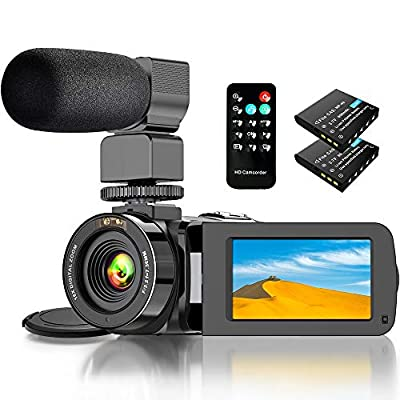 Video Camera Camcorder, Camcorder with WiFi IR Night Vision FHD 1080P 30FPS, Vlogging Camera for YouTube with 26MP 3.0'' Touch Screen 16X Digital Zoom Video Camera with Microphone, 2 Batteries, Remote by Actitop