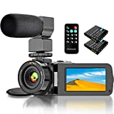 Video Camera Camcorder, Camcorder with WiFi IR Night Vision FHD 1080P 30FPS, Vlogging Camera for YouTube with 26MP 3.0'' Touch Screen 16X Digital Zoom Video Camera with Microphone, 2 Batteries, Remote