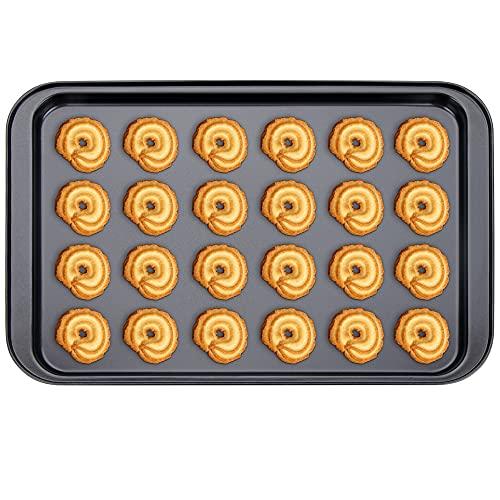 Plaque à Patisserie Noir,Plaque Rectangulaire Pan en Acier au Carbone,Biscuit Plat de Plaque de Cuisson Antiadhésive Revêtement,Inoxydable Four Plaque 42x28.5x1.8 cm pour Four et Grill