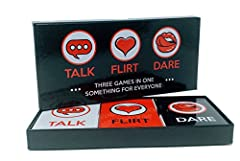 💗 THREE GAME LEVELS: Choose the level of closeness in your game by picking Talk, Flirt or Dare cards! 💗 GREAT FOR PARTIES: The Talk cards include questions to start fun couple conversations at parties 💗 HEAT THINGS UP: Refuel the connection in your m...
