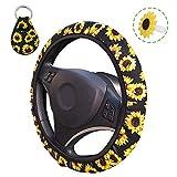 AFUNTA - Coprivolante con motivo con girasoli, simpatico e universale per volante, con portachiavi e porta-deodorante per auto, accessori per auto