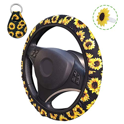 AFUNTA Lenkradhülle, Sonnenblumen-Motiv, niedlicher und universeller Lenkradbezug & Schlüsselanhänger & Lufterfrischer-Halter für Frauen, Autozubehör