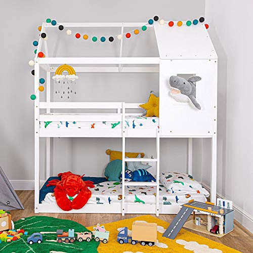 Cuckooland.com Treehouse Cabin Bunk Bed for Kids - Montessori Method Explorer Floor and Loft Bed Frame for Boys and Girls with Ladder - White Wood
