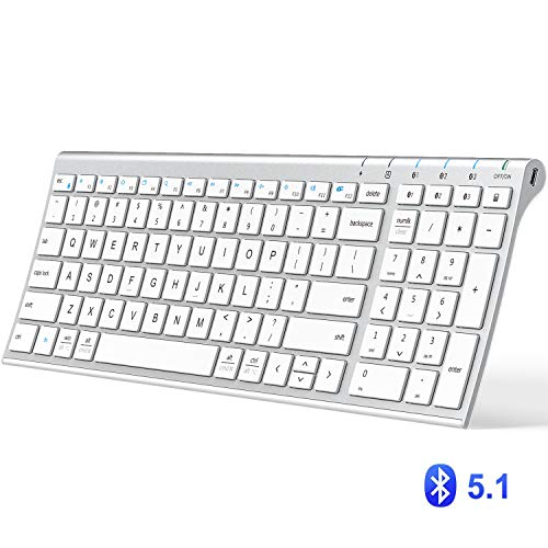 iClever BK10 Bluetooth Keyboard, Multi Device Keyboard Rechargeable Bluetooth 5.1 with Number Pad Ergonomic Design Full Size Stable Connection White Keyboard for iOS, Android, Windows