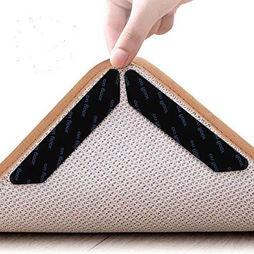 tiopeia 24 Stück Teppichgreifer Antirutschmatte, Anti Rutsch Antirutschmatte, Wiederverwendbare und Washable Rug Gripper, Teppichunterlage Teppich Aufkleber(Schwarz)