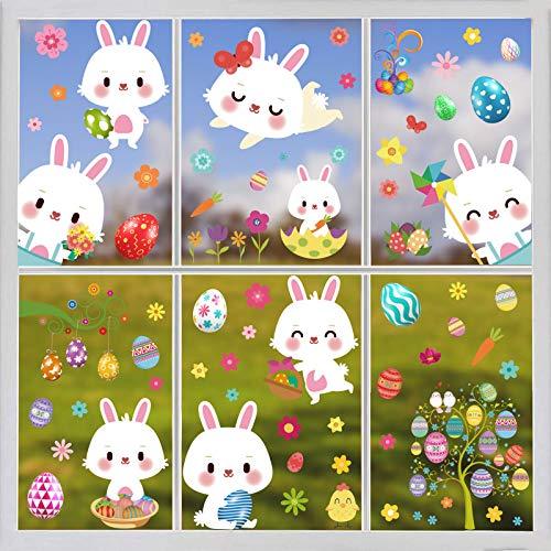 Deggodech 97 pezzi 9 fogli di Pasqua per finestra Set di adesivi pasquali uova coniglietto di Pasqua finestra adesivi PVC decorazione della casa decorazioni decalcomanie forniture (20 x 30 cm)