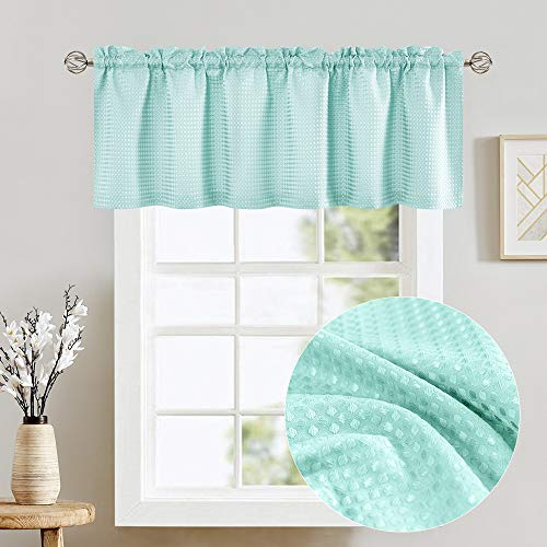"Light Teal Aqua Waffle Weave Textured Valance for Bathroom Water Repellent Window Covering for Kitchen 1 Panel 60""x 18"""