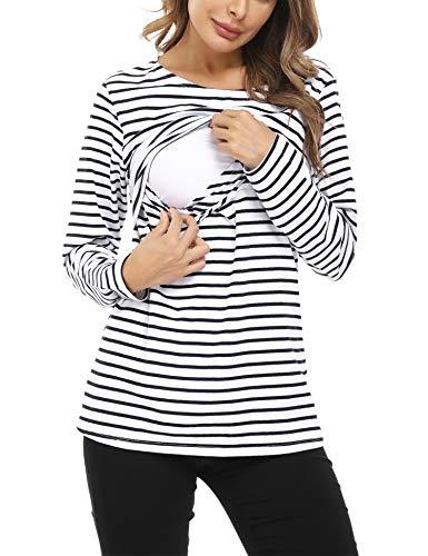 Hawiton Camisetas Lactancia de Manga Larga Invierno Camiseta de Algodon Lactancia Premamá Camisa de Maternidad para Mujer Ropa de Enfermería Rayas Cuello Redondo