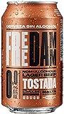 Damm - Cerveza Sin Alcohol 0,0 Free Damm Tostada, Pack de 24 Latas 33cl | Cerveza 0,0 Tostada en Lata, con Matices de Maltas Tostadas, Notas A Café, Cacao y Caramelo, Refrescante, Original