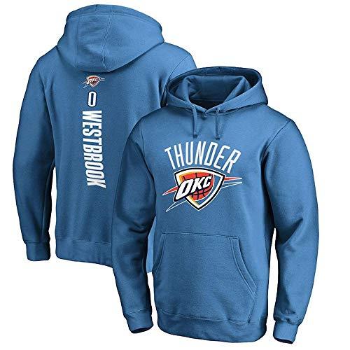 CHANG Felpa con Cappuccio NBA Oklahoma City Thunder Russell Westbrook Felpa con Cappuccio da Uomo A Maniche Lunghe con Cappuccio Sportivo con Cappuccio da Basket Maglie,Blue-M