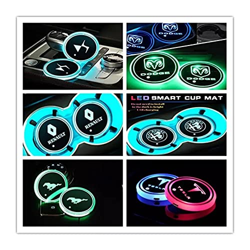 OUIPP Portavasos 1 pieza de luces antideslizantes para BMW SEAT DAF DS, Renault OPEL Dodge VW Maserati Car Multicolor Soporte de Bebidas Logo Colores de Luz (Color: Para JEEP)