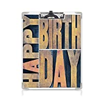 クリップボード 誕生日の装飾 プレゼントA4 バインダー 活版印刷のウッドタイプの印刷ブロックの長方形のタイポグラフィ 用箋挟 クロス貼 A4 短辺とじライトブラウンダークブルー