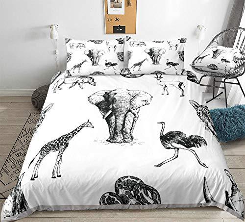 Aolomp Ensemble de literie 3D Textiles de Maison 2/3 pièces Motif Girafe de la Vie Sauvage Ensemble de Housse de Couette et taie d'oreiller 220 cm * 240 cm