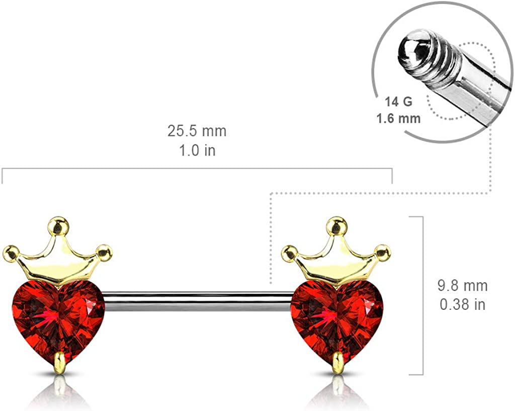 CZ Crystal Heart with Crown Nipple Barbells, Sold as Pair