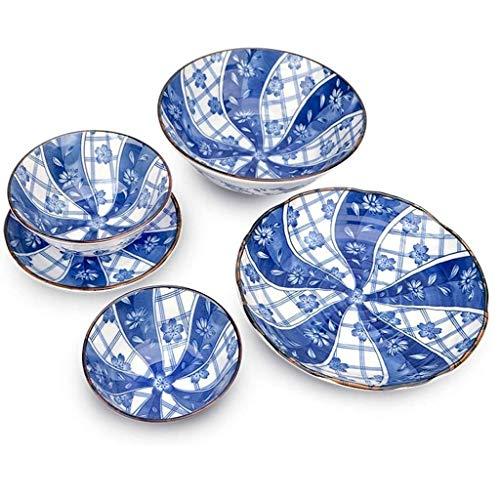 ZLDGYG Peces Azules de 8 Piezas, vajilla, vajilla, Placa Occidental, cerámica, Cuenco de arroz, Estamos Seguros para el Uso Diario.