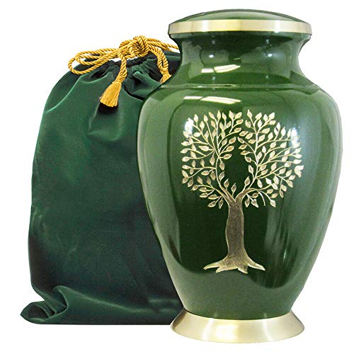 Tree of Life Classy Adult Green Urn for Human Ashes - A Beautiful Classic Urn to Honor Your Loved One - Find Comfort and Peace with This Quality and Thoughtful Urn - with Velvet Bag