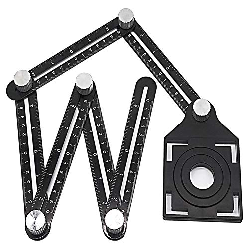 Chanhan Angleizer Template Tool, 6 Sides, Alulegierung Winkelschablone Multi winkel lineal, Multifunktionslineal Winkelmesswerkzeug, mit Tile Positioning Aperture Lineal
