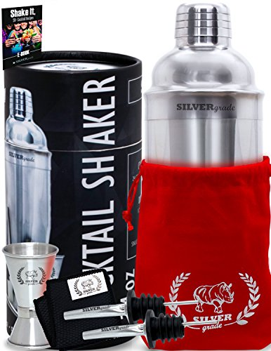 Cocktail Shaker Set - Professional Martini Bartender Kit - 24 Ounce Stainless Steel Shaker with Built-in Strainer and Lid, Double Jigger, 2 Liquor Pourers,...