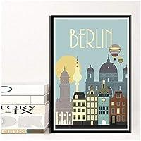KBIASD 家の装飾壁アートベルリンキャンバス絵画プリントポスター寝室のための有名な旅行都市の写真-40x60cmフレームなし