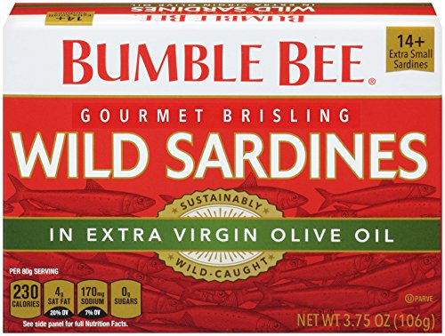 BUMBLE BEE Wild Sardines in Extra Virgin Olive Oil, 3.75 Ounce Can (Case of 12), Sardines in Olive Oil, Canned Sardines, High Protein, Keto Food, Keto Snack, Gluten Free, Paleo Food