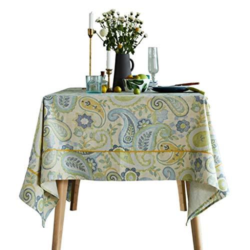 Nappe de table linge de table linge de maison linge de table partie impression de salon salon table basse (Color : GREEN, Size : 130 * 130CM)